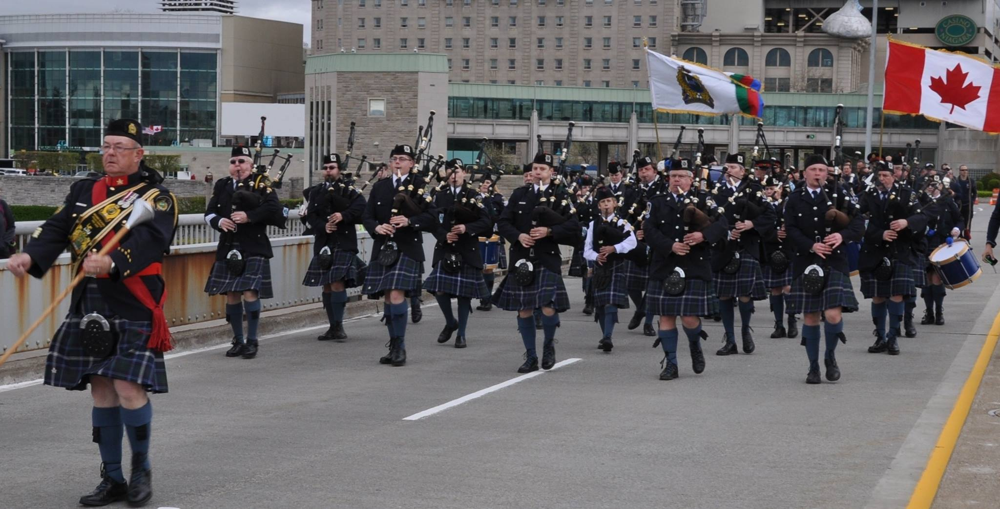 NRP Pipe Band marching on Rainbow Bridge
