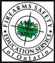 Safety Education Service of Ontario logo with target and green leaf that says Aiming for Safety