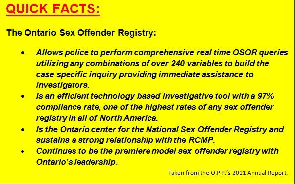 Facts about the Ontario Sex Offender Registry