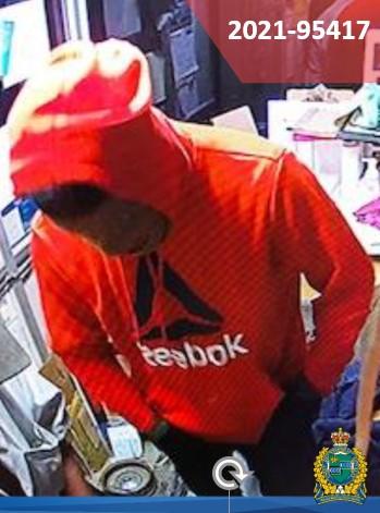robbery suspect in Reebok hoodie