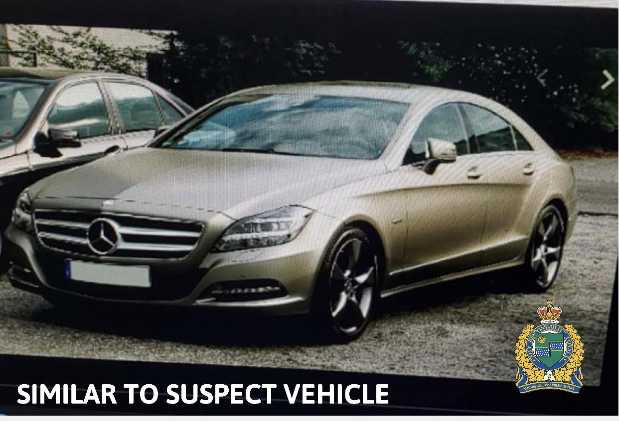 Suspect Vehicle gold mercedes